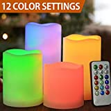 Cheap HOME MOST Set of 4 Flickering Flameless LED Pillar Candles with Remote 3×3 3×4 3×5 3×6 Multi Colored – Unscented Battery Operated Outdoor Pillar Candles Waterproof Bulk – Color Changing Candles