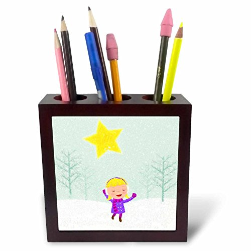 Caroling Snow (3dRose Doreen Erhardt Christmas Collection - Caroling Girl in the Snow Kids Cray Drawing Style in Pink and Purple - 5 inch tile pen holder (ph_266770_1))