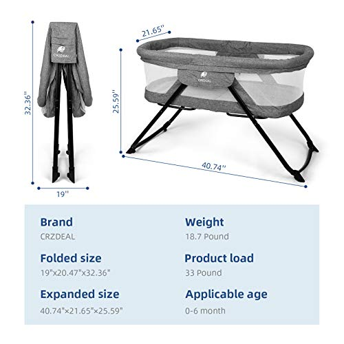 41%2BVFv1rNPL - CRZDEAL 2-in-1 Stationary One-Second Fold Travel Crib Portable