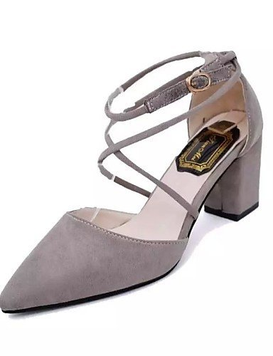 ShangYi Womens Shoes Leatherette Chunky Heel Heels / Pointed Toe Heels Office & Career / Casual Black / Pink / Gray gray