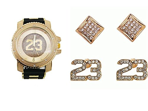 Scattered Diamond Watch - Lucky #23 Iced Out Rubber Black and Gold Watch with Shiny Gold #23 on dial, with Matching Lucky #23 Iced Out Stud Earrings and Kite Pave Design Iced Out Earrings Gift Set - SSS12E Gold