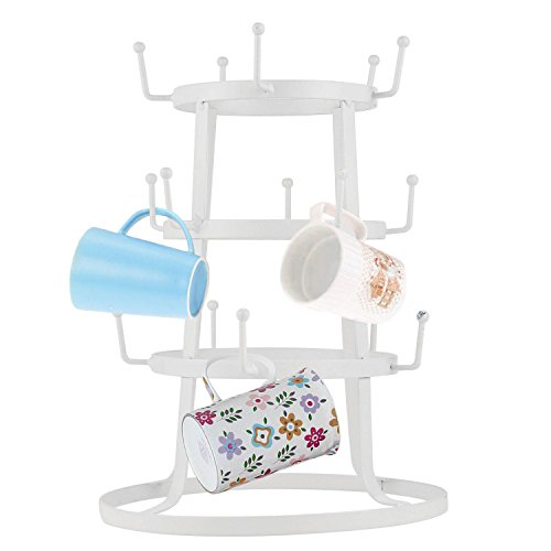 dtemple 3-Tier Steel Mug Tree Holder Organizer Rack Stand