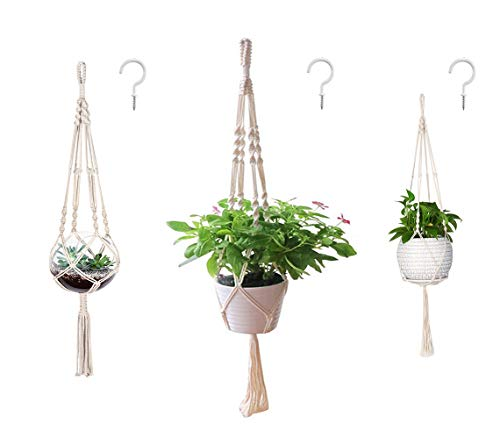 AOMGD 3 Pack Macrame Plant Hanger and 3 PCS Hooks Indoor Outdoor Hanging Plant Holder Hanging Planter Stand Flower Pots for Decorations - Cotton Rope, 4 Legs, 3 -