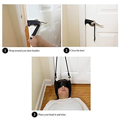 Premium Hammock For Neck Pain Relief - Chiropractic Portable Head Cervical Traction Device - Neck Stretcher, Massager - Attach To Any Door - Also For Chronic Shoulder Pain - Relaxation - Body Wellness