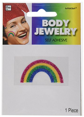 Amscan Perfect Team Spirit Rainbow Image Glitter Body Jewelry Accessory Party Supplies (Piece), Multicolor, 24 by Amscan