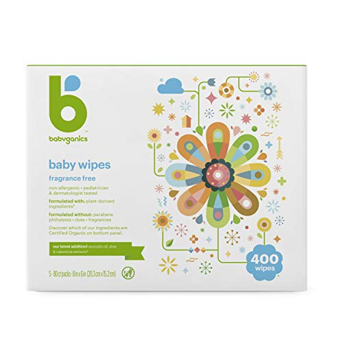 Babyganics Baby Wipes, Unscented, 100 Ct, 4 Pack, Packaging May Vary Multi
