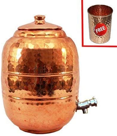 1 Cristal de Cobre Buycrafty Pure Copper 6.5 LTR Tanque de Almacenamiento para Maceta de Agua con Grifo para Cocina o jard/ín