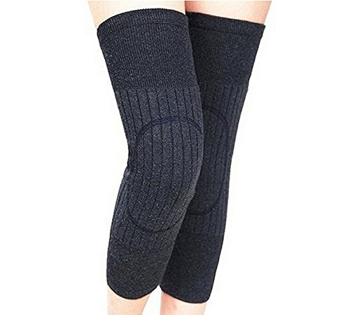Unisex Cashmere Wool Knee Brace Pads Winter Warm Thermal Knee Warmers Sleeve for Women Men (Dark Grey) ()