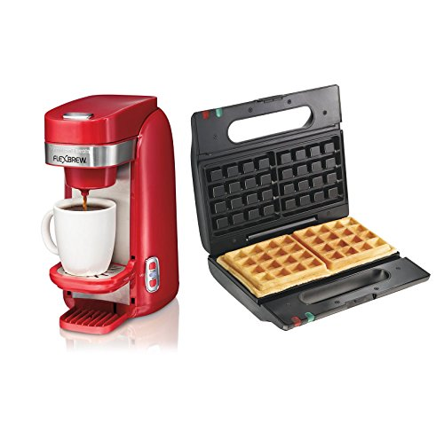 Hamilton Beach Single Serve Coffee Maker w/ Proctor Silex Belgian Waffle Maker (Coffee Dual Maker Hamilton Beach)