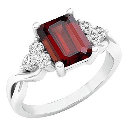 - Dazzlingrock Collection 14K 8X6 MM Emerald Cut Garnet & Round White Sapphire Engagement Ring, White Gold, Size 6.5
