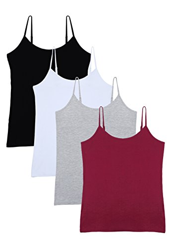 Vislivin Women's Basic Solid Camisole Adjustable Spaghetti Strap Tank Top Black/White/Gray/Wine Red L ()