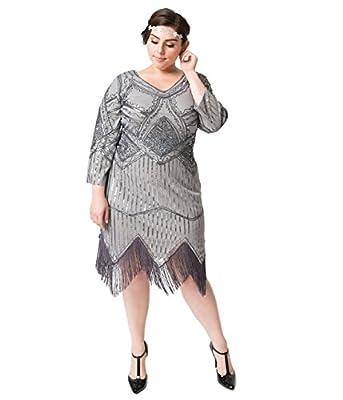 Unique Vintage Plus Size 1920s Dark Grey Beaded Sequin Sleeved Noemie Fringe Flapper Dress
