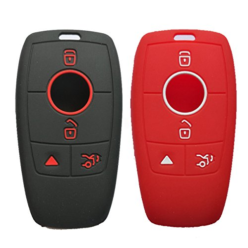 Alegender Qty(2) 4-Buttons Smart Key Fob Case Cover Holder Skin for 2018 2016 2017 Mercedes Benz E Class Black Red