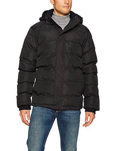 Hawke & Co Men's Lightweight Down Chevron Hooded Jacket, Black, XL