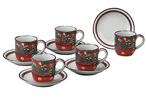 JAPANESE Kutani Pottery Kimai coffee set K4-1052 Made in Japan ... by Kutani
