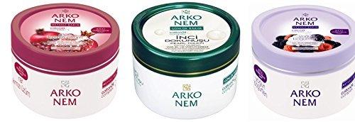Arko Nem Face/Hand/Body Cream, Yogurt/Blackberry/Pomegranate/Red Grape/Pearl Extracts, 10.14 Ounce by Arko