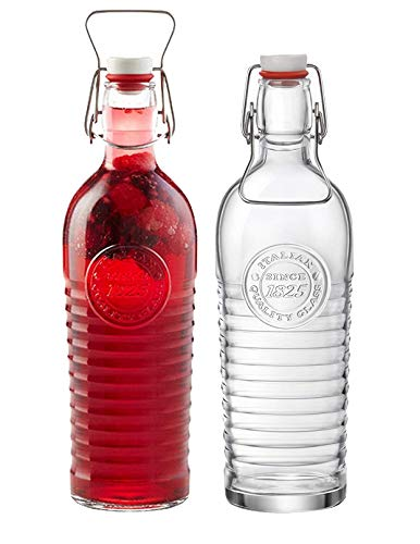 Bormioli Rocco Officina Water Bottle | 40.5oz, Italian Glass Pitcher | Airtight Seal & Metal Clamp | Easy To Carry Handle, Dishwasher Safe, Eco-Friendly | Safe For Infused & Carbonated Drinks