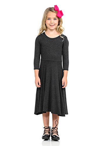 Pastel by Vivienne Honey Vanilla Girls' Princess Seam A-Line Dress with Full Skirt Medium 7-8 Years Charcoal ()