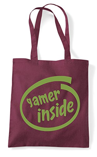 Tote Gamer Gaming Bag Parody Shopper Inside Statement Burgundy wCzxqvC
