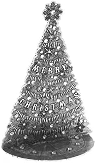 "product image for Wendell August The Magic Christmas Village Icicle Tree, Medium 4.5"" x 6.5"" – Hand-Hammered Aluminum with Swarovski Crystals – Beautifully Detailed with Snowflakes and Icicles, Made in USA"