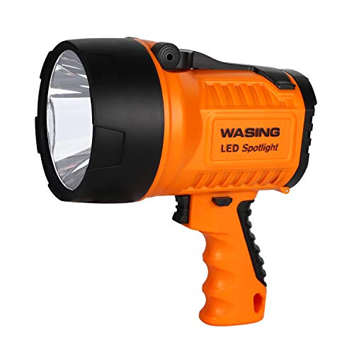 WASING Rechargeable 1000 Lumens Spotlight USB and AC Charging 10 Watt Ultra Bright Portable Searchlight Emergency Work Light Tactical Handheld LED Flashlight for Home Maintenance Outdoor Activities