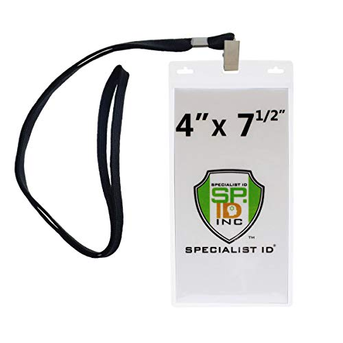 (Lanyards with 4X7 Extra Large Ticket Holders for Pit Passes and Playoff Games (Pack of 10) (Black))