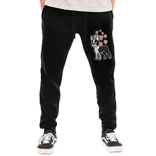 BibiQQgait Men's Jogger Sweatpants Boston Terrier Middle Rise Fleece Pants Black]()