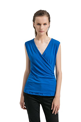 APRLL Womens Deep V Neck Sleeveless Crossover Ruched Side Tunic Tank Tops Slim Blouse (XS-XL) ()