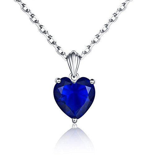 925 Sterling Silver Love to Heart Blue Sapphire Pendant Necklace for Women (Pendant Necklace Sapphire)