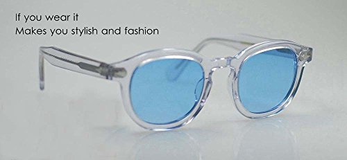 Retro Vintage Johnny Depp sunglasses Crystal with Blue lens eyeglasses - Johnny Depp Blue