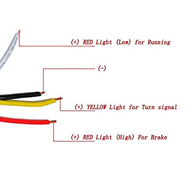 Motorcycle LED Dual Flashing Colors Amber Red Turn Signal Light Running Brake Bike (Black Shell -Yellow Lens): Automotive