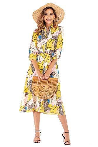 SHENGYI Women's Boho Printing Casual Long Sleeve Lapel Collar Button Belt Maxi Vintage Dresses Yellow Medium