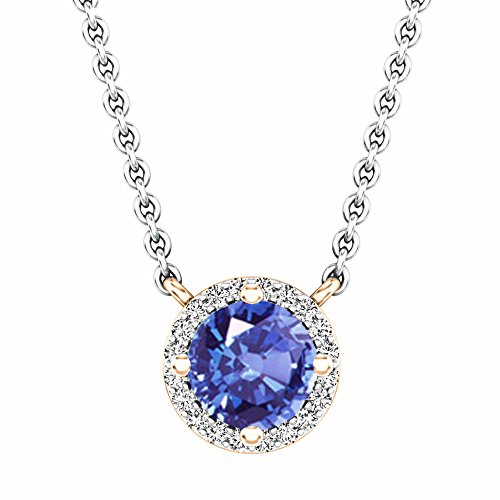 Dazzlingrock Collection 14K Round Tanzanite And White Diamond Ladies Halo Pendant (Silver Chain Included), Rose Gold