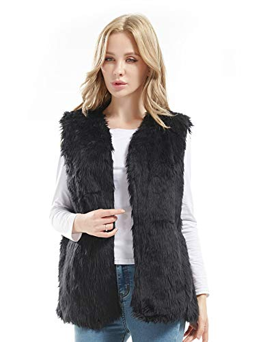 Bellivera Lady Faux Fur Vest Warm Sleeveless Outwear (Black,XX-Large) (Size Fur Plus Vest Long Faux)