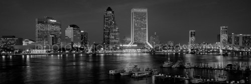Jacksonville Skyline PHOTO PRINT UNFRAMED Dusk BW Black & Wh