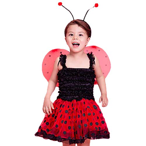 CQDY Lady Bug Costumes Halloween Masquerade Party Suits Girls Role Play Dress up Tutu Dress,3pc Set(Dress, Wing,Headband) (Black-red, 6Y) -
