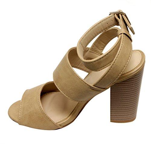 Anne Marie Savana-2 Womens open toe slingback chunky heel simple designPU sandals Beige KlHIqac5nl