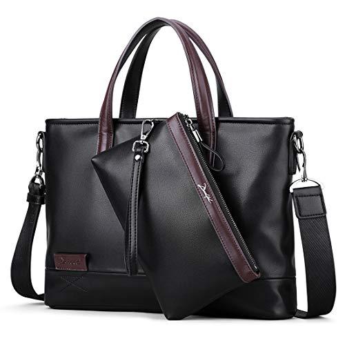 DEELFEL Leather Briefcase Laptop Handbag Messenger Business Bags + Clutch bag for Men 2 Set Black