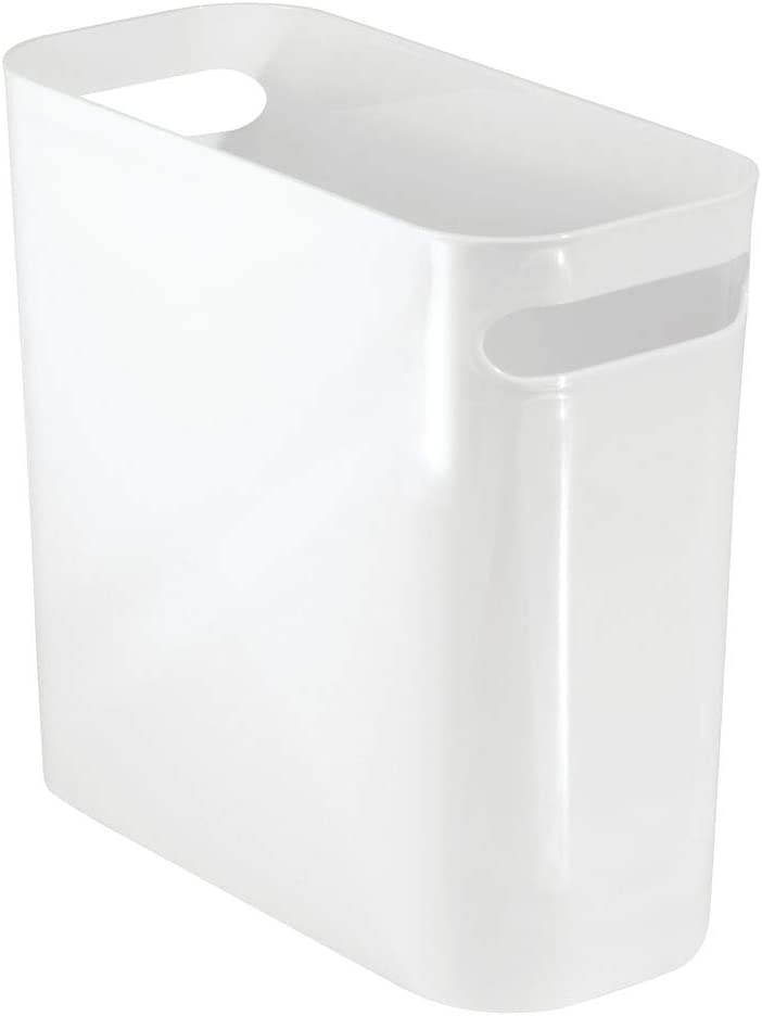 "mDesign Slim Plastic Rectangular Small Trash Can Wastebasket, Garbage Container Bin with Handles for Bathroom, Kitchen, Home Office, Dorm, Kids Room - 10"" High, Shatter-Resistant - White"