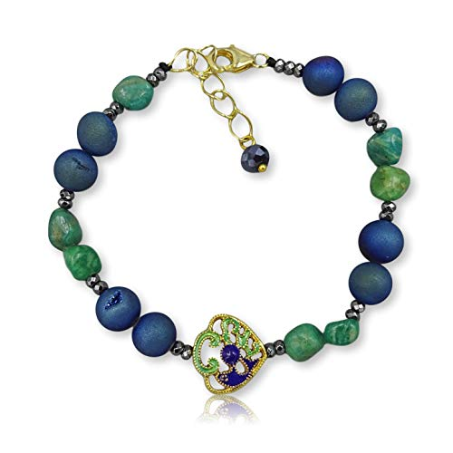 (MGR MY GEMS ROCK! 8MM Natural Gem Stones Cloisonne Butterfly Charm CZ Leopard Head Charm Beaded Stretch Elastic Chakra Bracelet (Amazonite and Blue druzy Agate))