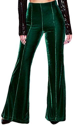 HeLov Women's Belize Green High Waist Velvet Palazzo Pants Vintage Flares Bell-Bottomed -