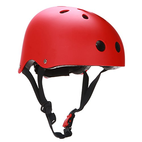 Dtown Women Men Youth Kids Girls Boys Skateboarding Airsoft Helmet Red with Size Adjustable