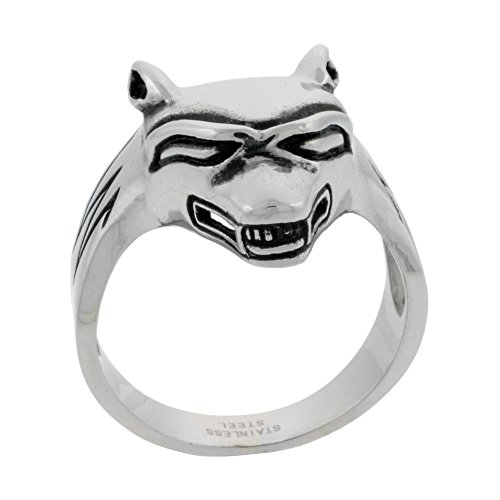 Sabrina Silver Stainless Steel Wolf Ring Biker Rings men 1 inch, size 9 - Wholesale Stainless Steel Rings