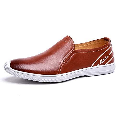 tamaño de Redonda Amarillo para Yellow cómodos Tamaño Yellow Lisos 40 Color Slip Brown Cabeza Brown EU HhGold Cuero On Zapatos para Hombre marrón Casuales Color 39 Hombres Mocasines de OTq65xS