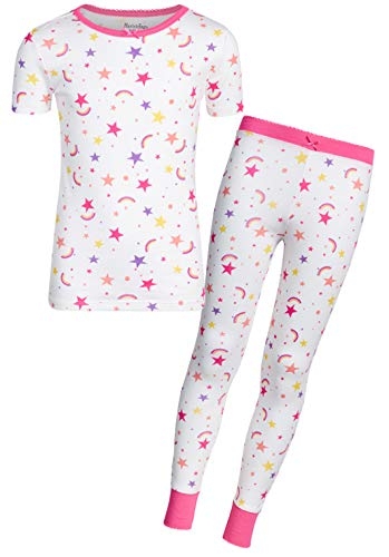 - Heartstrings Girls' 2-Piece Snug Fit Pant Pajama Set with Short Sleeve Top, White Star, Size 14/16'
