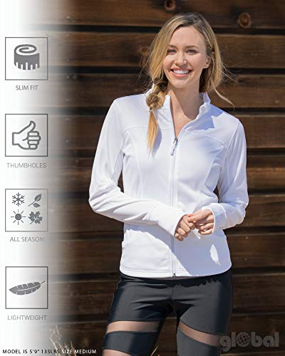 Global Blank Women/'s Slim Fit Lightweight Full Zip Up Yoga Workout Jacket