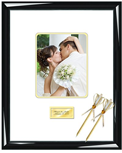 Personalized Autograph Picture Frame Signature Photo Guest Book Frame Round Corner 8x10 Portrait 16 x 20 Shiny Majestic Black Engraved Wedding Anniversary Retirement Matted Inner Gold