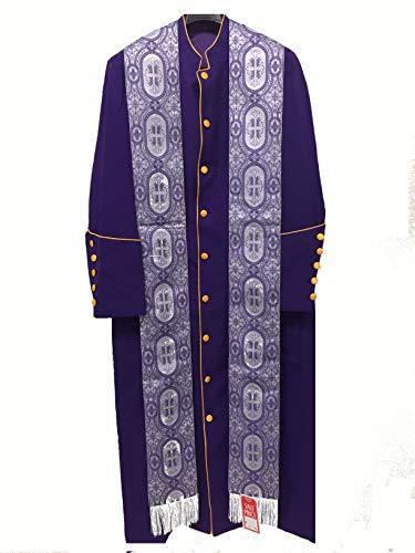 Clergy Robe , Cassock , Pastor Robe , Bishop Robe – PURPLE – VIOLET – PURPLE GOLD – LAVENDER (50, Purple Robe Only)
