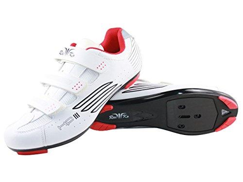 Raiko Sportswear HP3 Fahrradschuhe SPD-SL/Look Rennrad Klettverschluss Leder mit Netzeinsätzen Airflow Sohle weiß