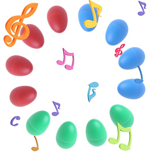 Rockrok Egg Shakers 12PCS Plastic Percussion Musical Toys Maracas Eggs for Kids Child